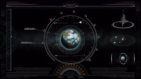 roket : HUD Display Spacecraft Earth Approach Screen. view in space of a spacecraft HUD display approaching the earth planet Stok Video