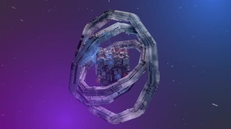 gravitational : Abstract Torus Space Station and Cube. an animation of a abstract space station form flying in space and spinning