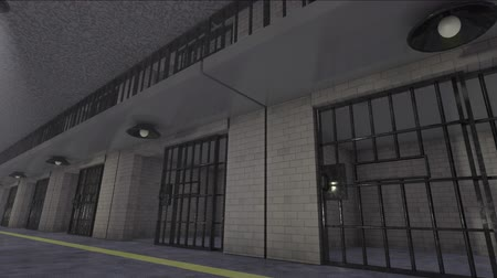 calçadão : Prison Move Along Side Angle. an animation moving along the side of a two level prison block and doors close as they move by Stock Footage