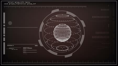 анализ : HUD Screen Sphere Data Analysis. animation of a spere being screened with data rotating and bars moving