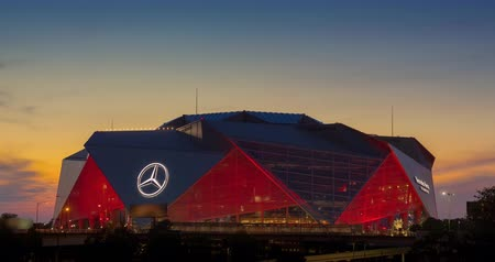 eight : ATLANTA, GA - September 29, 2018: Mercedes-Benz Stadium on September 29, 2018 in Atlanta. Mercedes-Benz Stadium is the home of the Atlanta Falcons NFL team and has a unique eight-panel retractable roof