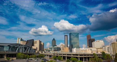 ga : Downtown Atlanta Skyline Daytime Timelapse. a daytime skyline of the city of Atlanta with large clouds