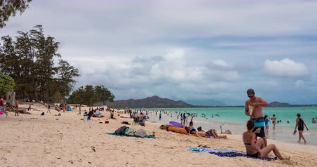 Hawaii Beach Timlapse Down Shoreline. a timelapse of Kailua beach during the day with people enjoying the sun and water