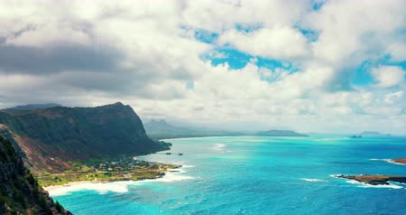 Oahu Shoreline View From Above Cliff Clouds Timelapse. a time lapse on the lighthouse trail looking over into the shorline Dostupné videozáznamy