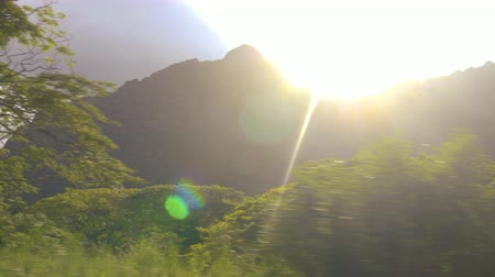 Driving Along Oahu Mountains with Sun Flare. a passenger driving view looking at mountains on Oahu island in Hawaii Dostupné videozáznamy