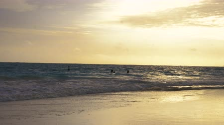 People Swimming in Ocean at Sunset. hand held view of people swimming in the ocean at sunset Dostupné videozáznamy