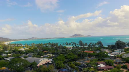Aerial Lowering on Kailua Beach in Hawaii. aerial view moving down over a neighborhood in Hawaii looking out at Kailua Beach Dostupné videozáznamy