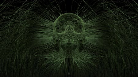натюрморт : Skull Formed by Growing Grass. animation of grass blades or weeds forming a skull in the middle