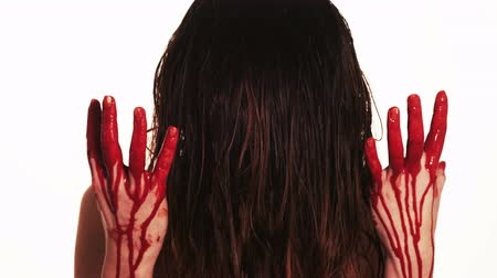 shy girl : lady with blood pouring down her hands Stock Footage