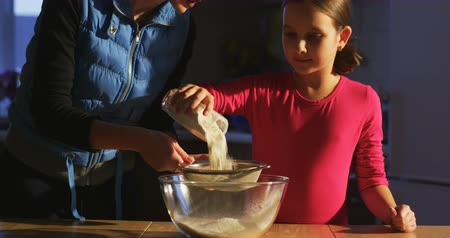 ground meat : Sifting flour Stock Footage