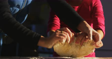 pelmeni : Mom and daughter Stock Footage