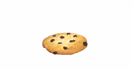 mcdonalds : Cookie with Raisin Spinning on White Background