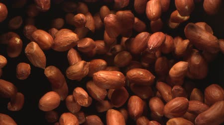 Peanuts Nuts Flying in the Air in a Free Fall in Slow Motion on Black Background at 1500 fps Wideo
