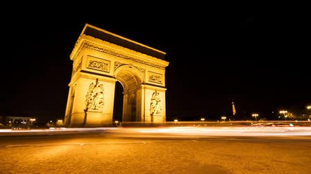 francja : Arc de triomphe, Paris timelapse video