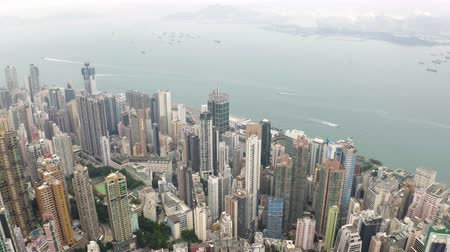 roof tops : Aerial View From Flying Drone Of Hong Kong City Residential Tall Buildings. Stock Footage
