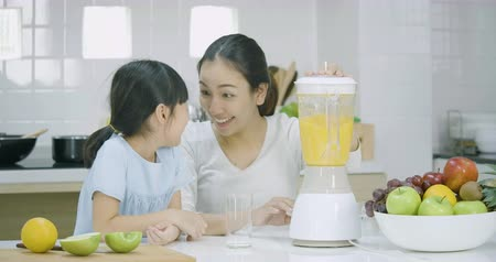 jovem : Pregnant woman and her daughter blending fruits smoothie in blender