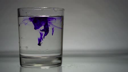 dissolução : Blue colorant is dissolved in glass of water
