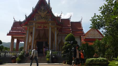 budist : 4K Thailand Buddhist Temple of Wat Chalong Phuket Stok Video