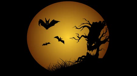 október : Halloween animation with moon evil spooky scary horror tree and bats