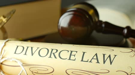 law enforcement : Divorce court law justice litigation concept with gavel and hammer Stock Footage