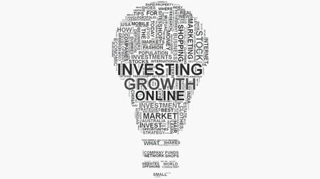 онлайн : Investment Growth Online shopping marketing concept word cloud text typography