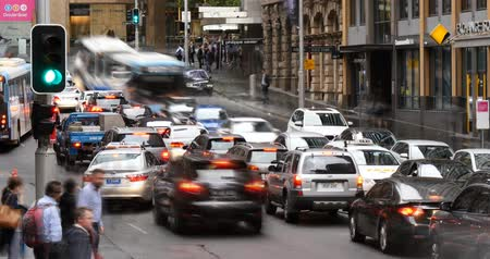 peoples : Sydney Australia establishing shot city street traffic and people time lapse