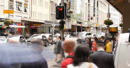peoples : George St Sydney Australia city street traffic and people time lapse Stock Footage