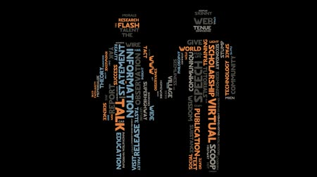 taal : Informatie taal communicatie marketing word cloud typografie animatie