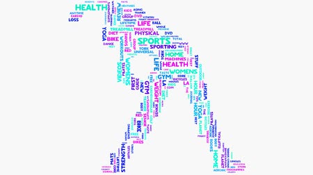 nutrição : Wellness fitness exercise dieting nutrition word cloud typography animation
