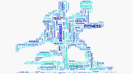 musculação : Wellness fitness exercise dieting nutrition word cloud typography animation