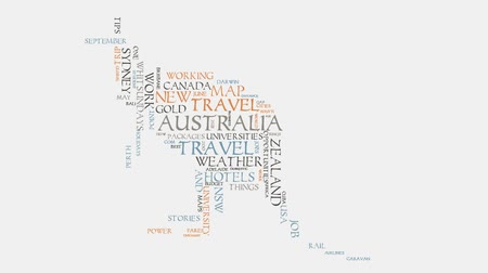 ausztrál : kangaroo Australia cities travel hotels and tourism word cloud text typography