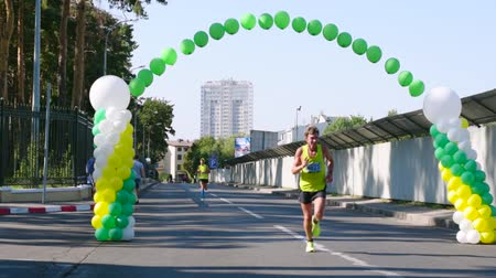 Ukraine, Kharkiv-August 20, 2017: Charity marathon video in hd 1080. Finish participants of the race