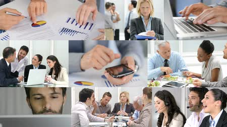 praca : Business concept. Composition of various video clips representing the life business. Theme business. Businesspeople working in modern office. Businesswoman and businessman working together.