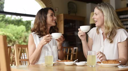 dialog : Two beautiful mature women holding cup of coffee and talking to each other in a cafeteria. Senior women in conversation while having breakfast. Happy middle aged friends meeting up for coffee.