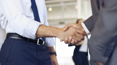 Businessmen shaking hands during a meeting. Closeup of business handshake between two colleagues in a modern office. Successful businessmen handshaking closing a deal. Agreement and business concept. Стоковые видеозаписи