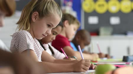 aluno : Smiling scholar girl sitting with other children in classroom and writing on textbook. Happy student doing homework at elementary school. Young schoolgirl feeling confident while writing on notebook. Stock Footage