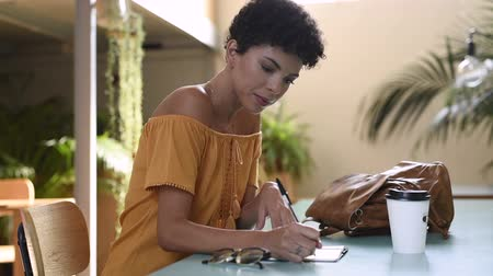 Portrait of young african american woman studying at the coffee shop. Concentrated black student taking notes at library and smiling. Brazialian girl sitting at table while writing on agenda, organizer and looking at camera. Стоковые видеозаписи