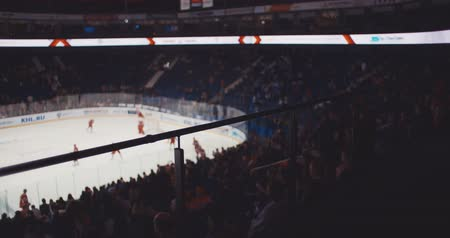 hockey rink : Ice hockey players on the ice Stock Footage
