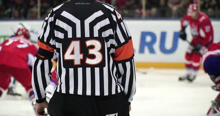 hockey rink : Hockey referee hold a puck in his palm. Close view