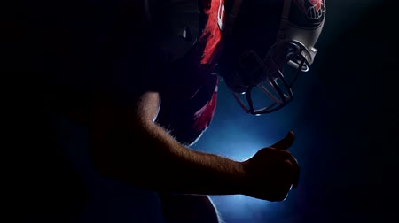 helmets : American football sportsman player  is ready to game