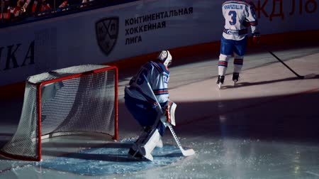 ska : Yaroslavl, Russia, February 21 2016: KHL Playoff Lokomotiv - SKA before game and first fight Stock Footage