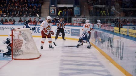 playoff : Novgorod, Russia, February 25 2016: KHL Playoff Torpedo - Jokerit begin of the game Stock Footage
