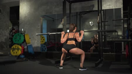 retouched : sporty sexy woman doing squat workout in gym