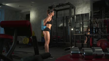 retouched : beautiful sporty sexy woman doing workout in gym
