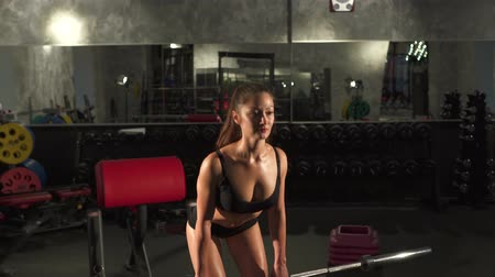 retouched : beautiful athletic woman doing workout in gym Stock Footage