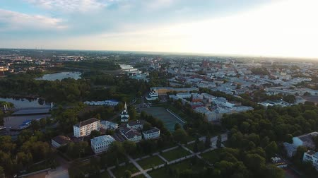bird's eye view : aerial view of city landscape near Yaroslavl Russia Stock Footage