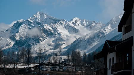 sochi : Winter in the Caucasus mountains. View from Olimpic village Stock Footage