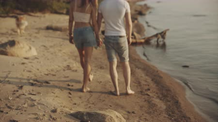 pegadas : Couple of lovers walking on the each Stock Footage