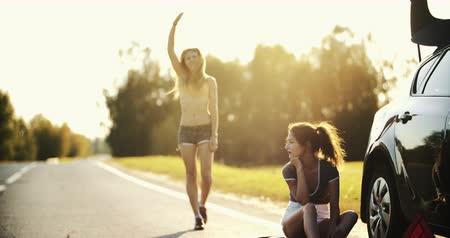 beira da estrada : Two young people tourists hitchhiking along a road.