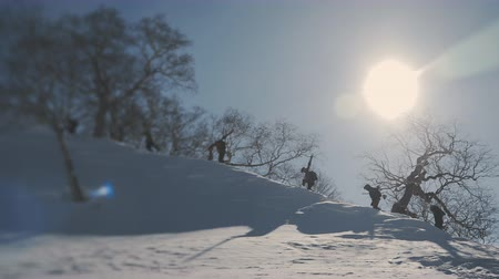 snowboarder : snowboarders going uphill in sunny weather, backccountry, filmed on drone, frame shot on a freeride tour in Kamchatka volcanoes Stock Footage